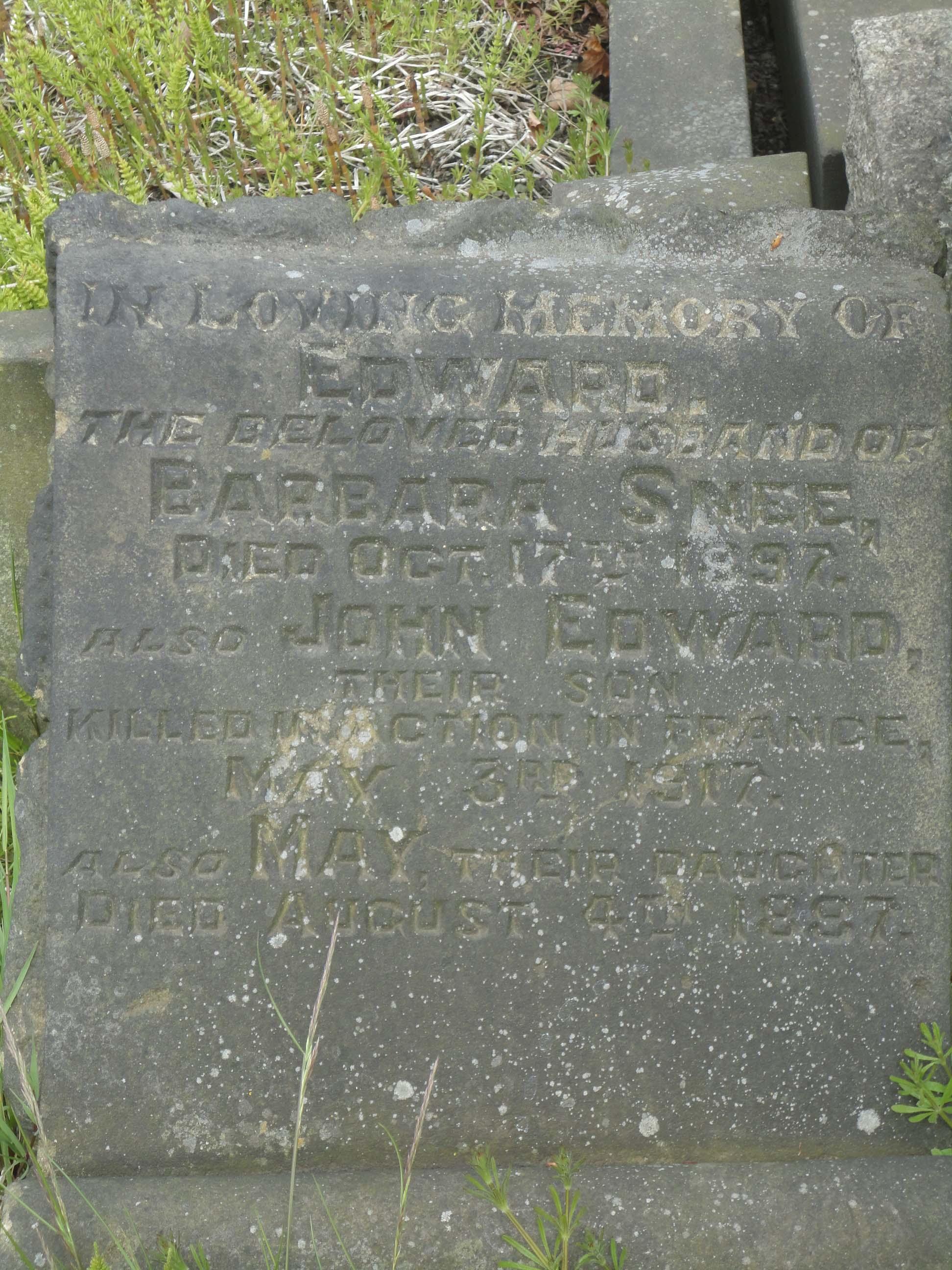 Snee JE inscription
